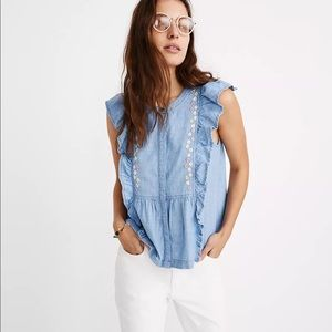 Madewell Floral Embroidered Denim Ruffle Top M